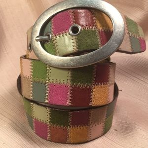 Fossil leather belt with reinforced buckle holes